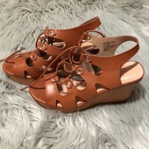 Tan Lace Up Wedges
